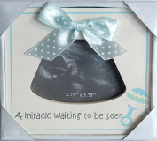"White and Blue Baby Sonogram Frame - ""A Miracle Waiting to be Seen"" - 13cm x 14cm"