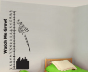 Growth Chart Super Hero Superman Buildings Watch Me Grow Wall Decals Stickers, Black, 90cm