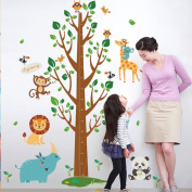 Homefind Height Measurement Wall Stickers Removable Large Tree Growth Chart with Animals Wall Decals Kids and Children Room Nursery Wall Decals Home Décor 43 × 180cm