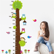 Funnytoday365 Owl Monkey Butterfly Flower Tree Growth Chart Wall Art Home Decorations Animals Stickers Cartoon Childrens Decals Cd003. 4.0