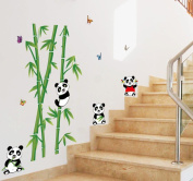 BIBITIME 4 Panda Wall Decals for Kids Rooms Green Bamboo Vinyl Stickers Nursery Room Butterflies Decor