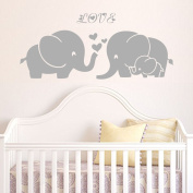 Elephant Family Wall Decal with Three Heart & Love Words (Grey) - 33cm X 80cm