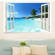 Playtoy Removable Beach Sea 3D Window Decal WALL STICKER Home Decor Exotic Beach View Art Wallpaper Mural