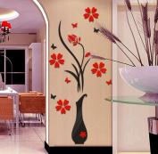 Wall Sticker,SMTSMT DIY Vase Flower Tree Crystal Arcylic 3D Wall Stickers
