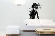 Wall Decal Vinyl Sticker patterns girl butterfly hair holl bedroom Gift a140