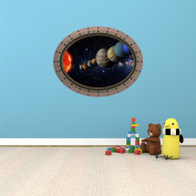 90cm Porthole Outer Space Ship Window View SOLAR SYSTEM #3 OVAL RIVETS Wall Sticker Kids Decal Baby Room Home Art Décor Den Mural Man Cave Graphic LARGE