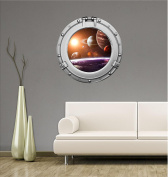 90cm Porthole Outer Space Ship Window View SOLAR SYSTEM #1 CHROME Wall Sticker Kids Decal Baby Room Home Art Décor Den Mural Man Cave Graphic LARGE