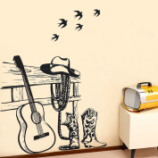 Wallpark Artistic Vintage Guitar Music Black Swallows Removable Wall Sticker Decal, Living Room Bedroom Home Nursery Decoration Adhesive DIY Art Wall Mural