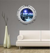 90cm Porthole Outer Space Ship Window View ALIEN PLANET #1 CHROME Wall Sticker Kids Decal Baby Room Home Art Décor Den Mural Man Cave Graphic LARGE