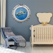 90cm Porthole Ship Sea Window Ocean View SHARK #4 CHROME Wall Sticker Kids Decal Baby Room Home Art Décor Den Mural Man Cave Graphic LARGE