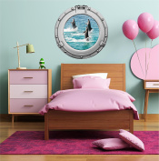 90cm Porthole Ship Sea Window Ocean View BOTTLE NOSE DOLPHINS #3 CHROME Wall Sticker Kids Decal Baby Room Home Art Décor Den Mural Man Cave Graphic LARGE