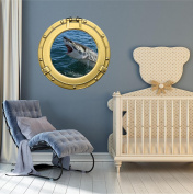 90cm Porthole Ship Sea Window Ocean View GREAT WHITE SHARK ATTACK #1 BRASS Wall Sticker Kids Decal Baby Room Home Art Décor Den Mural Man Cave Graphic LARGE