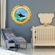 90cm Porthole Ship Sea Window Ocean View SEA LION SEAL #1 BRASS Wall Sticker Kids Decal Baby Room Home Art Décor Den Mural Man Cave Graphic LARGE