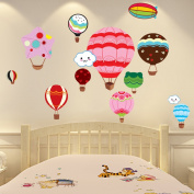 Wallpark Cartoon Cute Colourful Hot Air Balloon Removable Wall Sticker Decal, Children Kids Baby Home Room Nursery DIY Decorative Adhesive Art Wall Mural