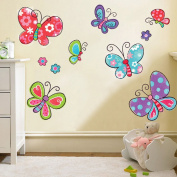 Wallpark Colourful Cartoon Butterflies Removable Wall Sticker Decal, Children Kids Baby Home Room Nursery DIY Decorative Adhesive Art Wall Mural