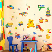 Wallpark Cartoon Cars Lovely Bear Amusement Park Removable Wall Sticker Decal, Children Kids Baby Home Room Nursery DIY Decorative Adhesive Art Wall Mural