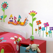 Wallpark Cartoon Pastoral Colourful Flowers Cute Caterpillar Removable Wall Sticker Decal, Children Kids Baby Home Room Nursery DIY Decorative Adhesive Art Wall Mural