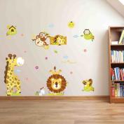 Wallpark Cartoon Animals - Lions Tigers Giraffe Cute Monkey - Removable Wall Sticker Decal, Children Kids Baby Home Room Nursery DIY Decorative Adhesive Art Wall Mural