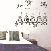 Wallpark Black Cute Owl Family on Tree Branch Removable Wall Sticker Decal, Children Kids Baby Home Room Nursery DIY Decorative Adhesive Art Wall Mural