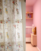 TSC Alphabets nursery baby room polyester Linen look alike curtain panel 120cm wide