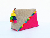 Fuchsia Boho pouch Colour block Linen velvet bag Clutch bag Embroidered 9X6inches X 7.6cm