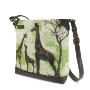 Chala Safari Giraffe Canvas Crossbody, Sand