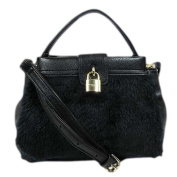 Olivia + Joy Beatrice Mini Top Handle Black Leather/fur Crossbody Bag