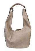 Diophy Soft PU Leather Hobo Accented with Studs & Crystal Décor on Both Side Womens Purse Handbag QY-2178