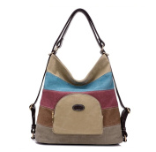 Melord Canvas Multi-colour Stripes Casual Tote Handbags Top Handle Cross Body Bag for Women