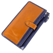 Boshiho Genuine Leather Card Wallet Multi Credit Card Case with Zipper Pockets Contrast Colour