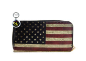 American Flag Wallet with Wrislet, Around Zip, Vintage Style