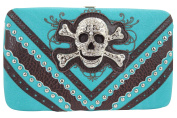 Rockabilly Western Biker Lady Rhinestone Skull Buckle Framed Clutch wallet