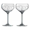 Royal Doulton Promises Two Hearts Entwined Champagne Saucer Pair, Clear