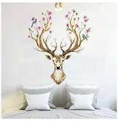 BIBITIME Merry Christmas Booming Flower Antlers Sika Deer Wall Decal Sticker for Nursery Moose Wall Decor Home Art Murals DIY Vinyl Removable Decals for Kids Boys Girls Room