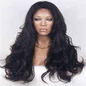 Etino Synthetic Body Wave Wavy Black Lace Front Wigs Thick Hair Wig Tied Heat Resistant