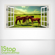 HORSE FIELD WALL STICKER FULL COLOUR - GIRLS BOYS BEDROOM WINDOW W72 Size