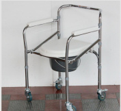 Aluminium alloy Bedside Commode Steel Commode foldable elderly pregnant women disabled people bath chair wheelchair toilet chair , white plating steel