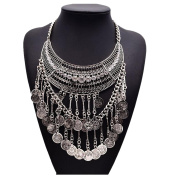 Easting Vintage Costume Jewellery Tassels Coin Chain Choker Bib Temperament Necklaces