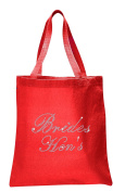 Varsany Red Brides Hen's Luxury Crystal Bride Tote bag wedding party gift bag Cotton
