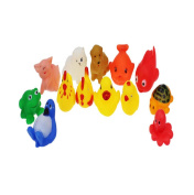 HipZop 13pcs Rubber Animals With Sound Baby Shower Party Favours Toys