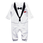 Tuxedo onesie for boys - white and black - European sizes 70, 80, 90 (based on baby height) | suit with bow tie - sweet gift for parents with babies