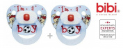 "BIBI SWISS ""I AM A BOY"" Nr.108714- 2x Pacifiers Soothers Dummnies Anatomical Silicone/ BLUE"