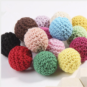 Wooden Teether Crochet Beads with Wood 50Pc Mix Colour 20mm (3/4 Inch) Crochet Round Wooden Beads Ball Knit Teething Baby Teether Toys