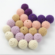 30pcs 16mm Teether Crochet Ball Beads-Beads Crochet-embellishment-Wooden Cotton Yarn Bead -Mix colour-Round Beads Baby Teether Toys