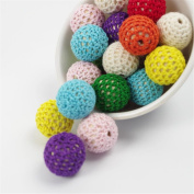 50Pc Wooden Teething Crochet Covered Beads Colour Mix Ball 16mm for Baby Teething Diy Necklace Mini Crochet Beads