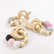 Baby Teether Bracelet 3Pcs Crocheted Beads Safe Wooden Baby & Toddler Toys Teething Toys Nursing Baby Gift Teether Toys
