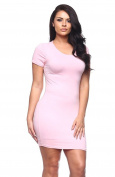 2LUV Plus Women's Solid Colour Above The Knee Crew Neck Dress