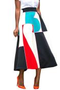 Happy Sailed Womens Print A-Line High Waisted Pleated Full Maxi Skirt