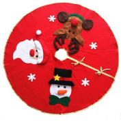 bravolotus High Quality Christmas Round Tree Skirt Red Santa Claus Snowman Home Party Holiday Decoration
