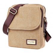 Plemo Unisex British Style Retro Casual Canvas Messenger Bag, Crossbody Shoulder Bag Fits 25cm Tablet
